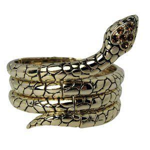 Snake Wrap Bracelet Amber Crystals Gold Tone